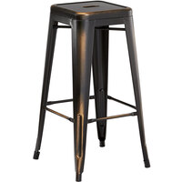 Lancaster Table & Seating Alloy Series Distressed Copper Stackable Metal Indoor / Outdoor Industrial Barstool with Drain Hole Seat