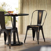 Lancaster Table & Seating Alloy Series Distressed Copper Metal Indoor / Outdoor Industrial Cafe Chair with Vertical Slat Back and Drain Hole Seat