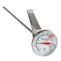 Choice 8 inch Hot Beverage / Frothing Thermometer 30 - 220 Degrees Fahrenheit