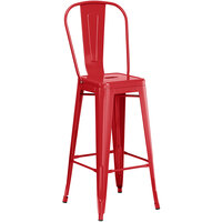 Lancaster Table & Seating Alloy Series Red Metal Indoor / Outdoor Industrial Cafe Barstool with Vertical Slat Back and Drain Hole Seat