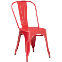 Lancaster Table & Seating Alloy Series Red Metal Indoor / Outdoor Industrial Cafe Chair with Vertical Slat Back and Drain Hole Seat