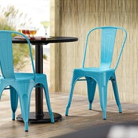 Lancaster Table & Seating Alloy Series Arctic Blue Metal Indoor / Outdoor Industrial Cafe Chair with Vertical Slat Back and Drain Hole Seat