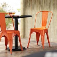 Lancaster Table & Seating Alloy Series Orange Metal Indoor / Outdoor Industrial Cafe Chair with Vertical Slat Back and Drain Hole Seat
