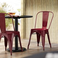 Lancaster Table & Seating Alloy Series Sangria Metal Indoor / Outdoor Industrial Cafe Chair with Vertical Slat Back and Drain Hole Seat