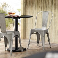Lancaster Table & Seating Alloy Series Silver Metal Indoor / Outdoor Industrial Cafe Chair with Vertical Slat Back and Drain Hole Seat