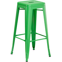 Lancaster Table & Seating Alloy Series Green Stackable Metal Indoor / Outdoor Industrial Barstool with Drain Hole Seat