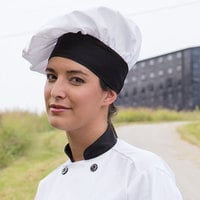 Uncommon Threads 0150 White / Black Customizable Twill Chef Hat