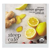 Steep Cafe By Bigelow Organic Lemon Ginger Herbal Tea Pyramid Sachets - 50/Case