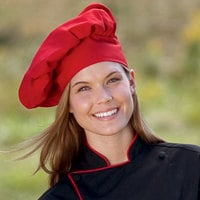 Uncommon Threads 0100 Red Customizable Poplin Chef Hat