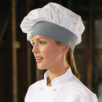 Uncommon Threads 0150 White / Houndstooth Customizable Twill Chef Hat
