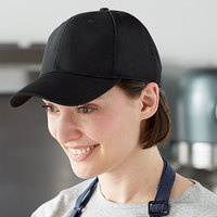 Henry Segal Customizable 6-Panel Black Chef Cap with Mesh Back, Moisture Wicking Band, and UV Protection