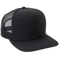 Mercer Culinary Black Customizable 6-Panel Chef Trucker Cap with Mesh Back