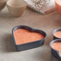 4 inch x 3 3/4 inch x 1 inch Non-Stick Carbon Steel Mini Heart Shaped Cake Pan