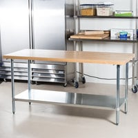 Advance Tabco H2G-246 Wood Top Work Table with Galvanized Base and Undershelf - 24 inch x 72 inch