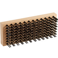 Vollrath 483-0 9 inch x 4 inch Wooden Butcher Block Brush with Steel Bristles and Handle