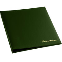 H. Risch RESBOOK-GN Green Faux Leather Reservation Book