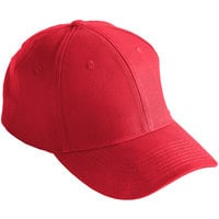 Mercer Culinary Red Customizable 6-Panel Chef / Baseball Cap