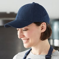 Mercer Culinary Navy Blue Customizable 6-Panel Chef / Baseball Cap