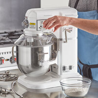 Avantco MIX8GWH White 8 Qt. Commercial Countertop Mixer with Guard and Accessories - 120V, 4/5 hp
