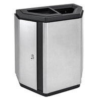 Ex-Cell Kaiser ECH-HHX A/T TR SS/BL Echelon Collection Stainless Steel 32 Gallon Half-Hex Indoor Receptacle with Ash / Trash Divider