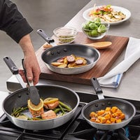 Choice 3-Piece Aluminum Non-Stick Fry Pan Set with Black Silicone Handles - 8 inch, 10 inch, and 12 inch Frying Pans