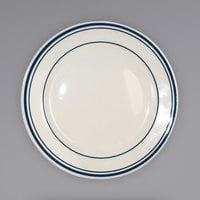 International Tableware CT-9 Catania 9 3/4 inch Ivory (American White) Stoneware Plate with Blue Bands - 24/Case