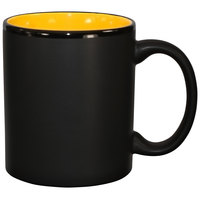 International Tableware 87168-2900/05MF-05C Hilo 11 oz. Yellow In / Black Out Stoneware C-Handle Mug - 12/Case