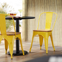 Lancaster Table & Seating Alloy Series Yellow Metal Indoor Industrial Cafe Chair with Vertical Slat Back and Natural Wood Seat