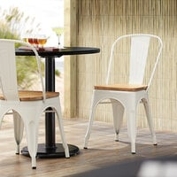 Lancaster Table & Seating Alloy Series White Metal Indoor Industrial Cafe Chair with Vertical Slat Back and Natural Wood Seat
