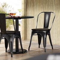 Lancaster Table & Seating Alloy Series Distressed Black Metal Indoor Industrial Cafe Chair with Vertical Slat Back and Black Wood Seat