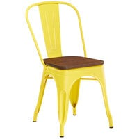 Lancaster Table & Seating Alloy Series Yellow Metal Indoor Industrial Cafe Chair with Vertical Slat Back and Walnut Wood Seat