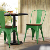 Lancaster Table & Seating Alloy Series Green Metal Indoor Industrial Cafe Chair with Vertical Slat Back and Walnut Wood Seat