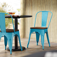 Lancaster Table & Seating Alloy Series Arctic Blue Metal Indoor Industrial Cafe Chair with Vertical Slat Back and Walnut Wood Seat
