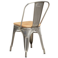 Lancaster Table & Seating Alloy Series Clear Coated Metal Indoor Industrial Cafe Chair with Vertical Slat Back and Natural Wood Seat