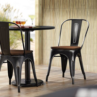 Lancaster Table & Seating Alloy Series Distressed Black Metal Indoor Industrial Cafe Chair with Vertical Slat Back and Walnut Wood Seat