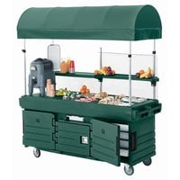 Cambro KVC856C519 CamKiosk Green Vending Cart with 6 Pan Wells and Canopy