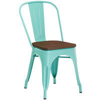 Lancaster Table & Seating Alloy Series Seafoam Metal Indoor Industrial Cafe Chair with Vertical Slat Back and Walnut Wood Seat