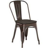 Lancaster Table & Seating Alloy Series Copper Metal Indoor Industrial Cafe Chair with Vertical Slat Back and Black Wood Seat