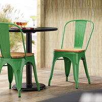 Lancaster Table & Seating Alloy Series Green Metal Indoor Industrial Cafe Chair with Vertical Slat Back and Natural Wood Seat