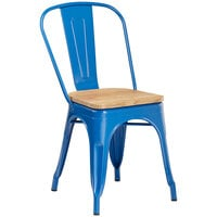 Lancaster Table & Seating Alloy Series Blue Metal Indoor Industrial Cafe Chair with Vertical Slat Back and Natural Wood Seat