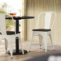 Lancaster Table & Seating Alloy Series White Metal Indoor Industrial Cafe Chair with Vertical Slat Back and Black Wood Seat