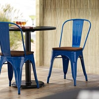 Lancaster Table & Seating Alloy Series Blue Metal Indoor Industrial Cafe Chair with Vertical Slat Back and Walnut Wood Seat