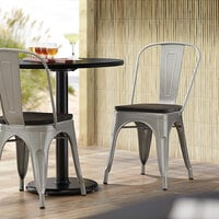 Lancaster Table & Seating Alloy Series Silver Metal Indoor Industrial Cafe Chair with Vertical Slat Back and Black Wood Seat