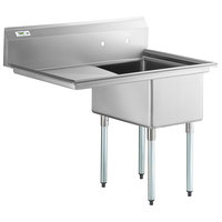 Regency 44 inch 16 Gauge Stainless Steel One Compartment Commercial Sink with Galvanized Steel Legs and 1 Drainboard - 17 inch x 23 inch x 12 inch Bowl - Right Drainboard