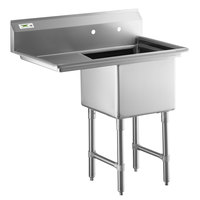 Regency 38 1/2 inch 16-Gauge Stainless Steel One Compartment Commercial Sink with 1 Drainboard - 18 inch x 18 inch x 14 inch Bowl - Right Drainboard