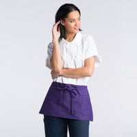 Uncommon Threads 3067 Purple Customizable Waist Apron with 3 Pockets - 11 inch L x 23 inch W