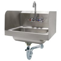 Advance Tabco 7-PS-40 Hand Sink with Splash Mounted Gooseneck Faucet and Side Splash Guards - 17 1/4 inch