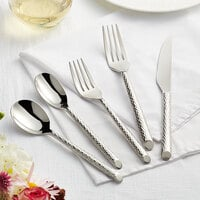 Acopa Iris 18/8 Stainless Steel Extra Heavy Weight Forged Flatware Set with Service for 12 - 60/Pack