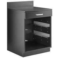 Lancaster Table & Seating 24 inch Black Waitress Station with Drawer and 4 Adjustable Stainless Steel Rack Holders