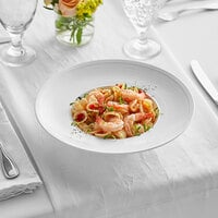 Acopa Liana 11 oz. Bright White Embossed Lines Wide Rim Porcelain Pasta Bowl - 12/Case